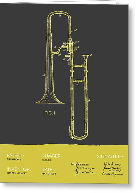 Trombone Patent From 1902 - Modern Gray Yellow Greeting Card by Aged Pixel