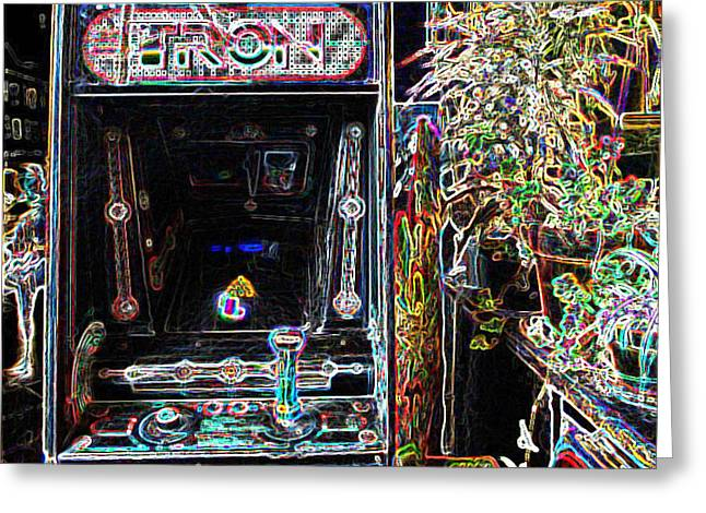Tron Arcade Machine - Neon Enhanced Greeting Card by David Lovins