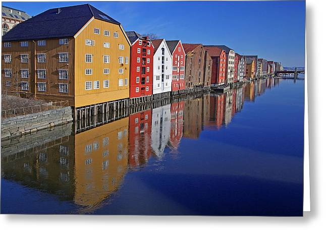 Trondheim At Morning Greeting Card by Reinhard Pantke