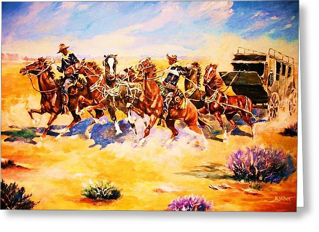 Troopers Stopping A Runaway Coach Greeting Card by Al Brown
