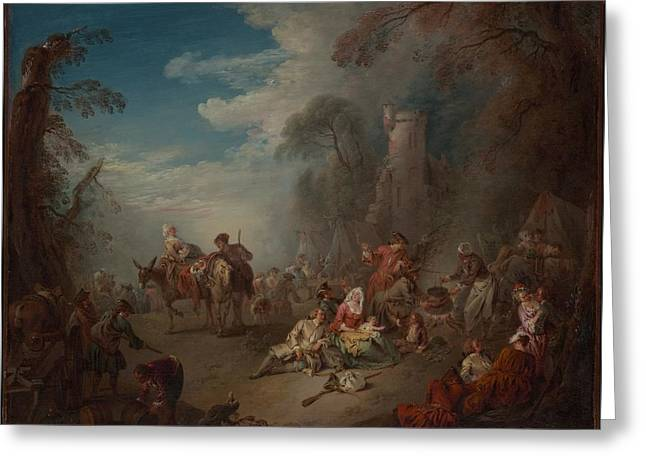 Troops At Rest Greeting Card by Jean-Baptiste Joseph Pater