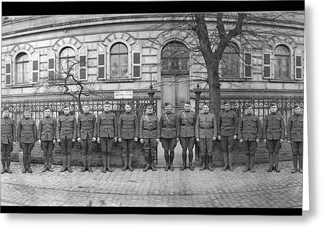 Troops In Front Of Hdqrs. 3rd Corps Greeting Card by Fred Schutz Collection