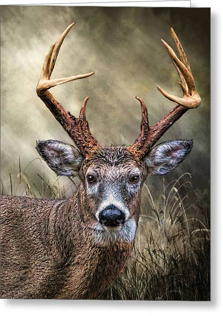 Greeting Card featuring the digital art Trophy 10 Point Buck by Mary Almond