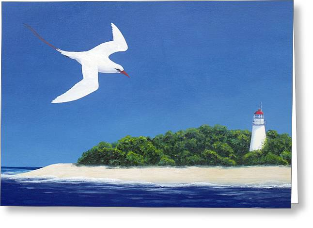 Tropic Bird And Light House Greeting Card