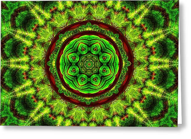 Tropic Leaf Pattern Mandala Greeting Card by Deborah Smith
