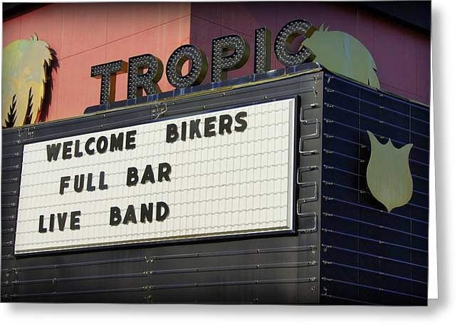 Tropic Theatre Greeting Card by Laurie Perry
