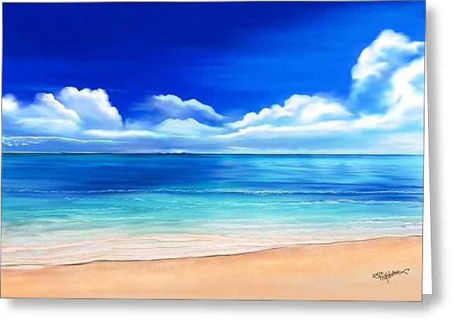 Greeting Card featuring the drawing Tropical Blue by Anthony Fishburne