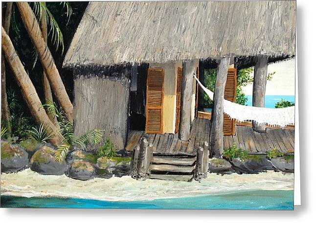 Greeting Card featuring the painting Tropical Breeze by Alan Lakin