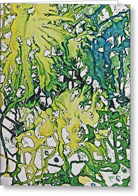 Greeting Card featuring the painting Tropical Confusion by Joan Hartenstein