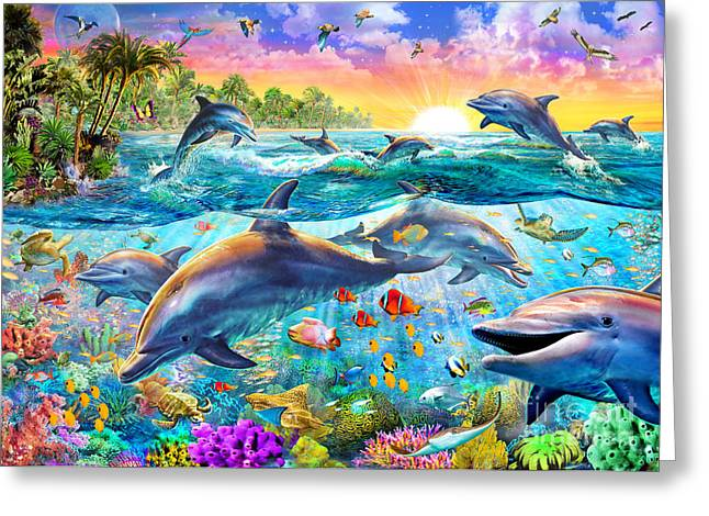 Tropical Dolphins Greeting Card by Adrian Chesterman