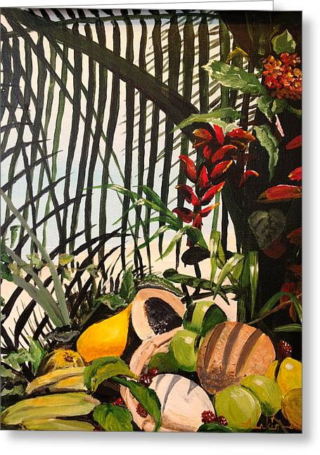 Greeting Card featuring the painting Tropical Fruit by Alan Lakin