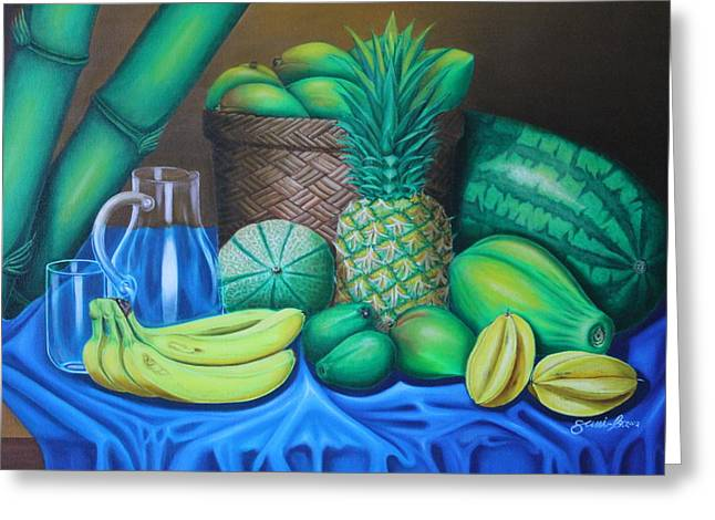 Tropical Fruits Greeting Card by Gani Banacia