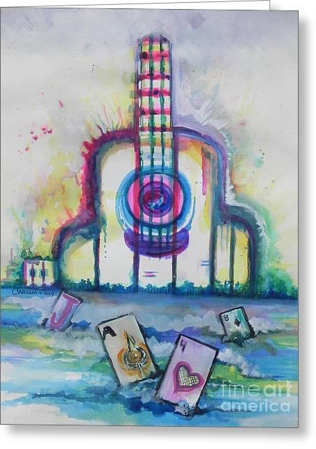 Tropical Hard Rock Cafe Greeting Card by Chrisann Ellis
