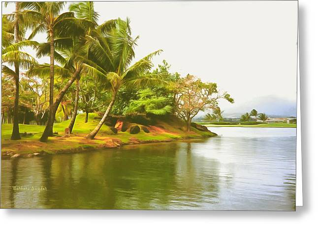 Tropical Island Palm Trees Greeting Card by Barbara Snyder