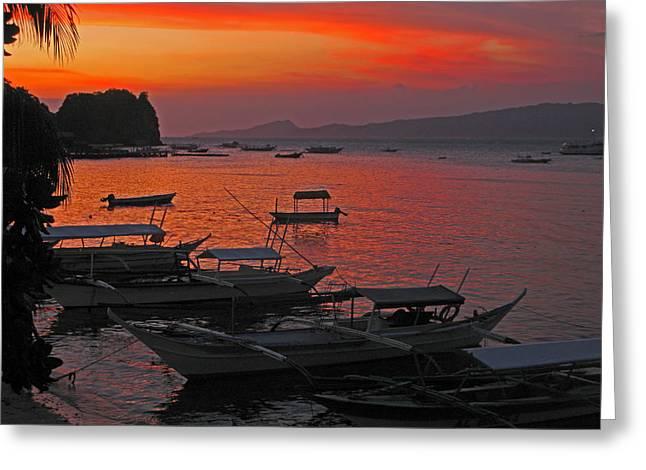 Tropical Island Sea And Sunset Greeting Card