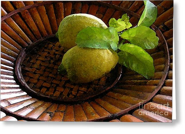 Tropical Lemons Greeting Card by James Temple