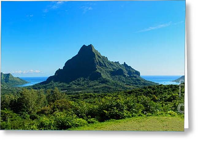 Tropical Moorea Panorama Greeting Card by IPics Photography
