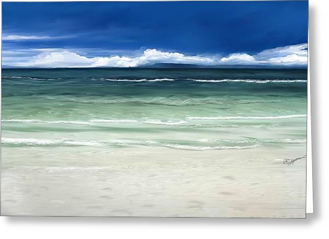 Greeting Card featuring the digital art Tropical Ocean by Anthony Fishburne
