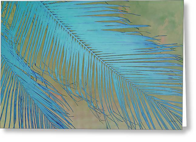 Tropical Palm In Blue Greeting Card by Ann Powell