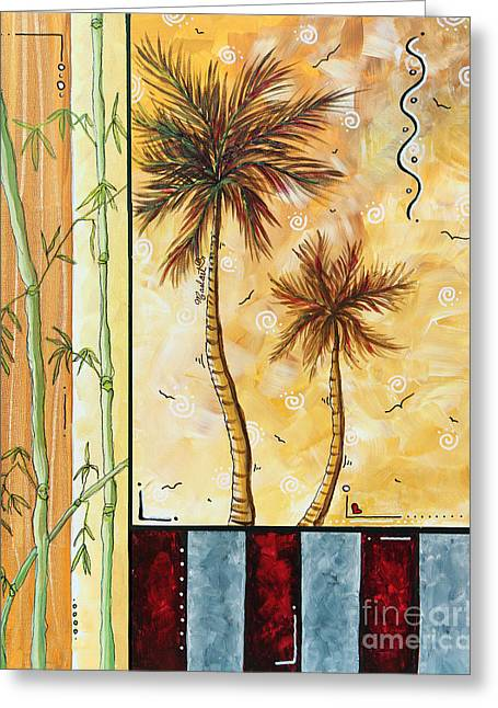 Tropical Palm Tree Coastal Decorative Art Original Painting Tropical Breeeze I By Madart Studios Greeting Card