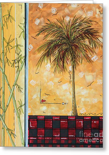 Tropical Palm Tree Coastal Decorative Art Original Painting Tropical Breeeze II By Madart Studios Greeting Card