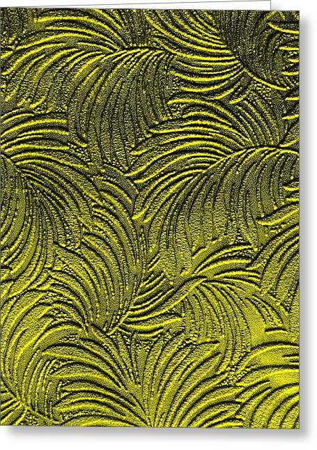 Tropical Palms - Peridot Green And Metallic Gold Greeting Card by Artistic Mystic