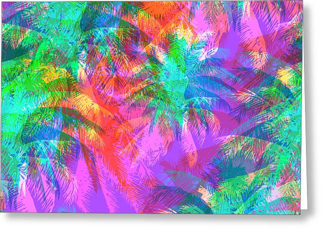 Tropical Pattern Depicting Pink And Greeting Card