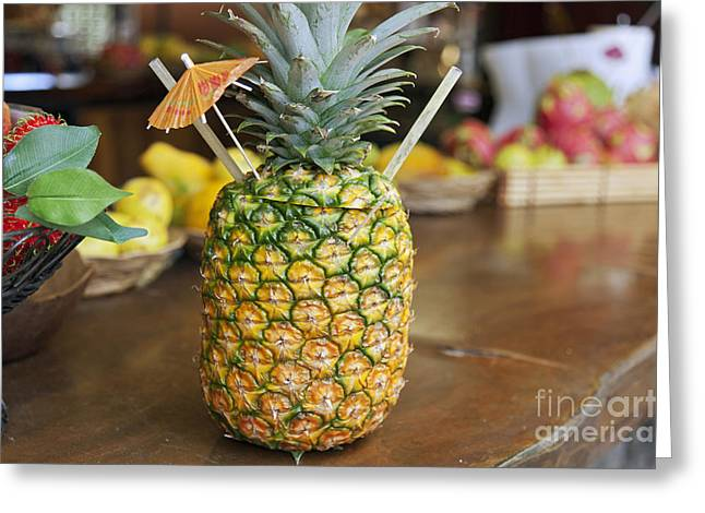 Tropical Pineapple Drink Greeting Card by Brandon Tabiolo