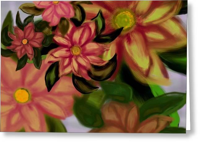 Tropical Plaid Greeting Card by Christine Fournier