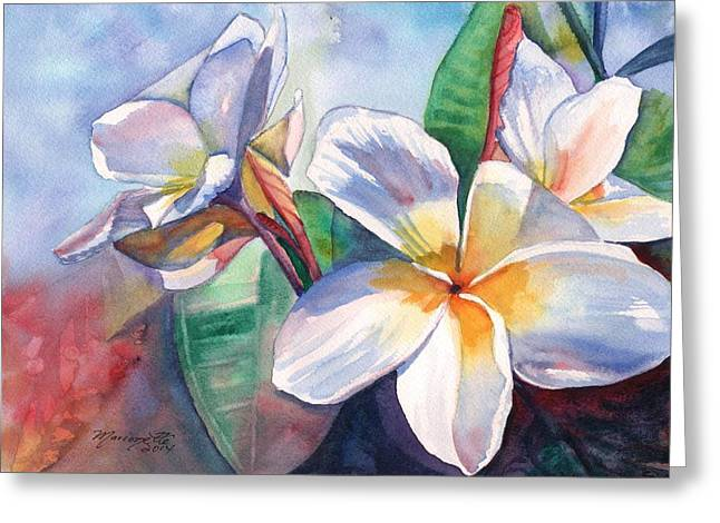 Tropical Plumeria Flowers Greeting Card