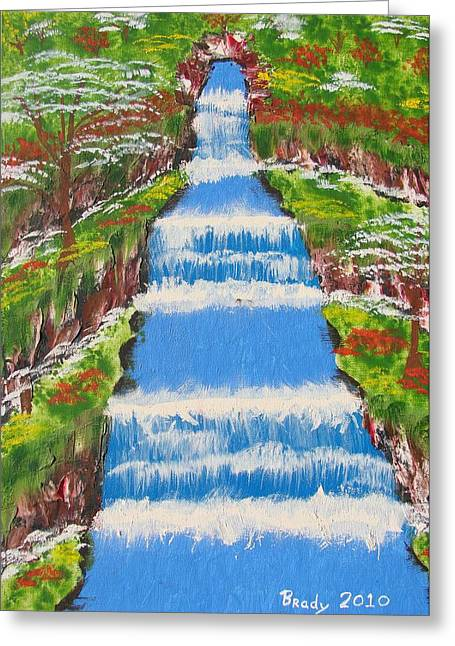 Tropical Rain Forest Water Fall Greeting Card