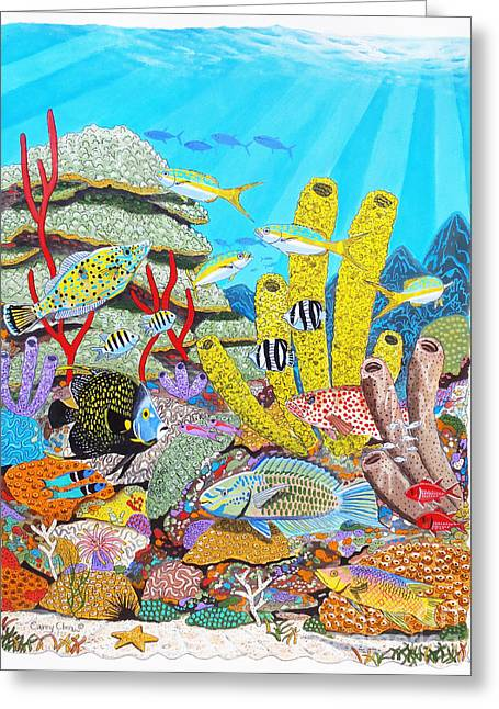 Tropical Reef Greeting Card by Carey Chen