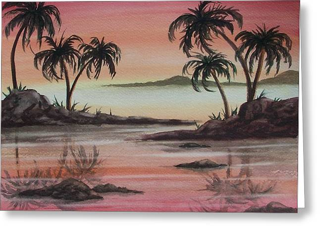 Tropical Reflections Greeting Card