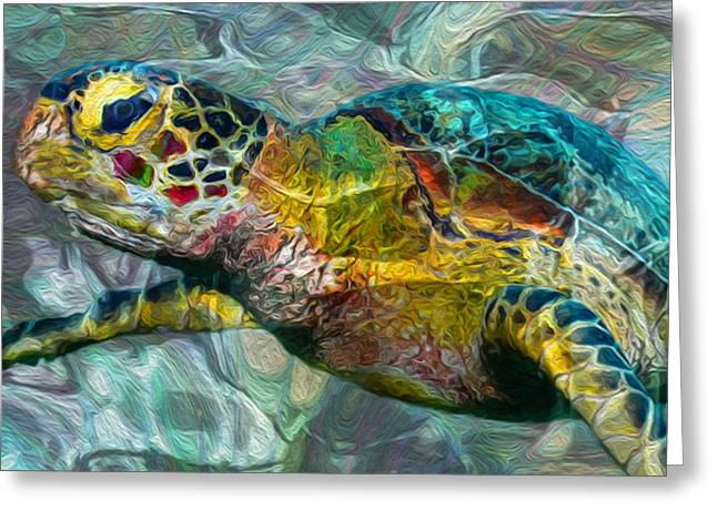 Tropical Sea Turtle Greeting Card by Jack Zulli