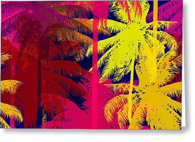 Tropical Seamless Pattern Depicting Greeting Card