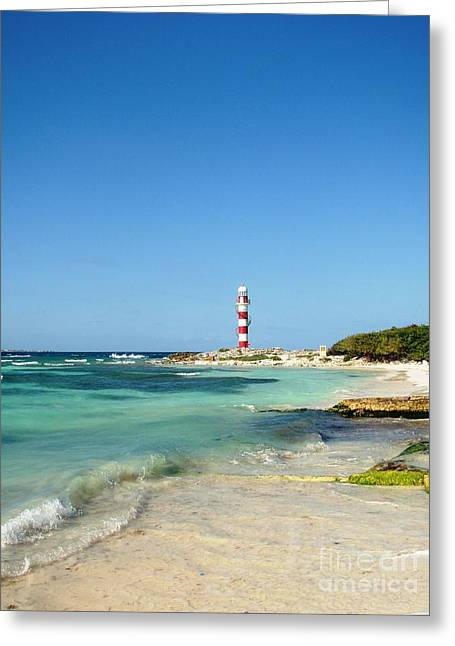 Tropical Seascape With Lighthouse Greeting Card
