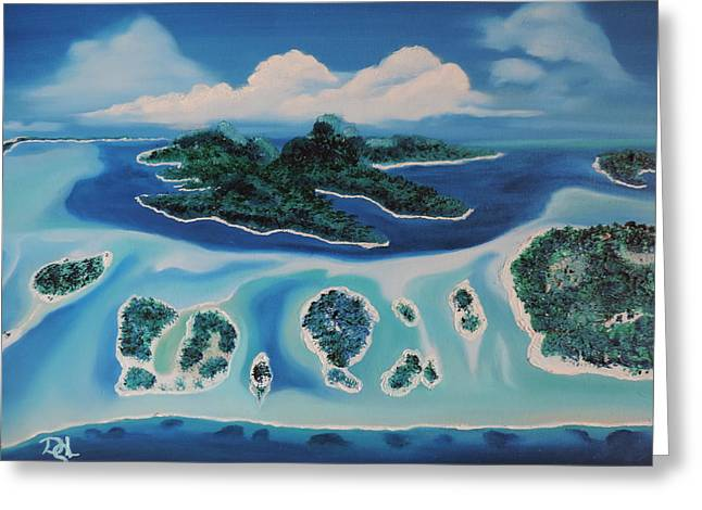 Greeting Card featuring the painting Tropical Skies by Dianna Lewis
