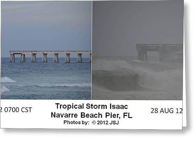 Tropical Storm Isaac Difference In A Day Greeting Card by Jeff at JSJ Photography