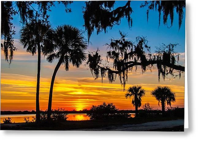 Tropical Sunset Greeting Card by Bob Mulligan