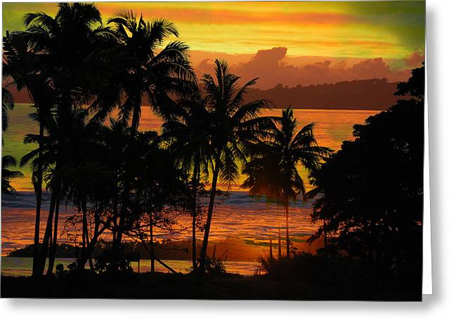 Tropical Sunset In Greens Greeting Card