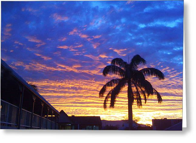 Tropical Sunset View Greeting Card
