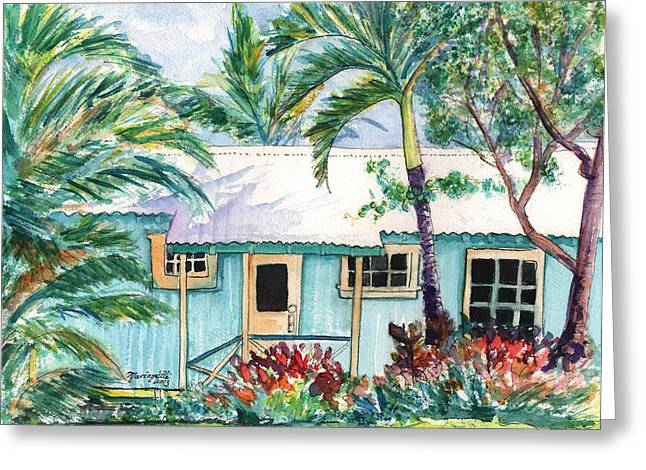 Tropical Vacation Cottage Greeting Card by Marionette Taboniar