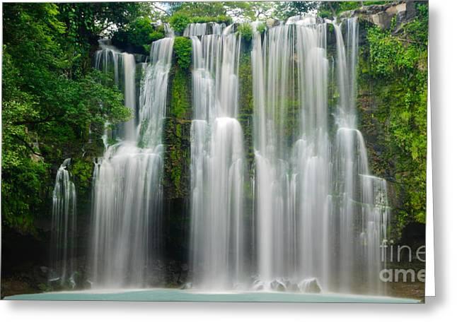 Tropical Waterfall Greeting Card by Oscar Gutierrez