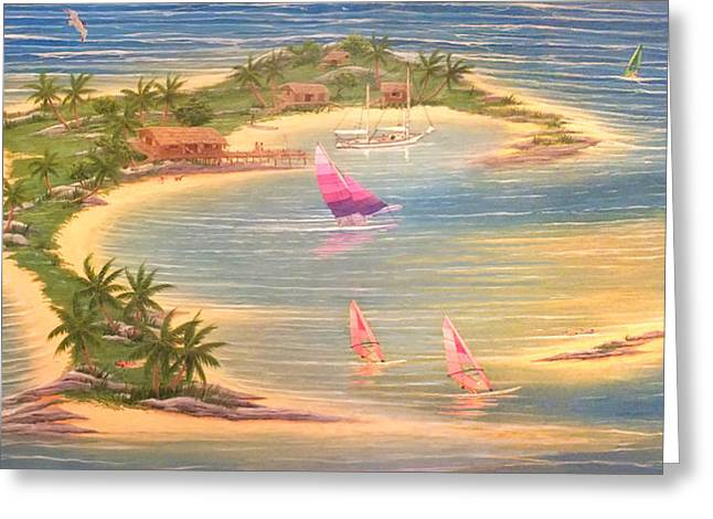 Tropical Windy Island Paradise Greeting Card