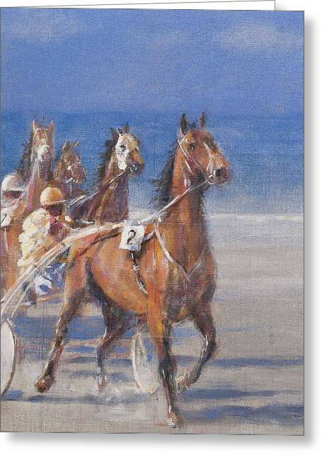 Trotting Races, Lancieux, Brittany, 2014 Oil On Canvas Greeting Card