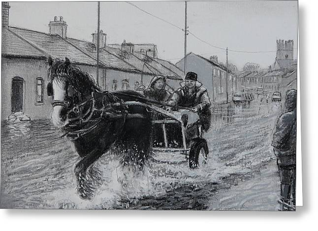 Trotting Thro The Floods Limerick 2014 Greeting Card by Tomas OMaoldomhnaigh