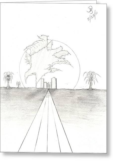 Trouble In Paradise Greeting Card by Daryl Schooley