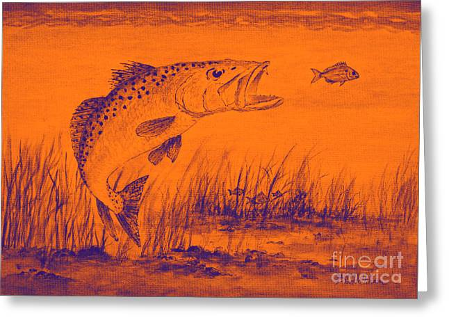 Trout Attack 2 In Orange Greeting Card by Bill Holkham
