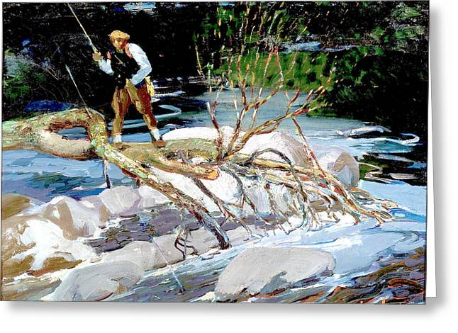 Trout Fishing Greeting Card by George Benjamin Luks