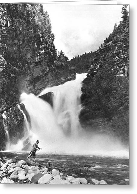Trout Fishing In Canada Greeting Card by Underwood Archives